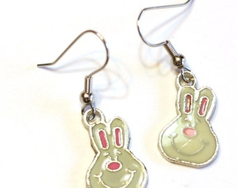 Easter Bunny Enamel Charm Earrings - White and Pink Rabbit Charm Jewelry - Holiday Jewelry - Gifts for her
