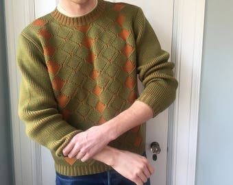 80s Green and Orange Diamond Pattern Made in West Germany Lazarus Sweater Size