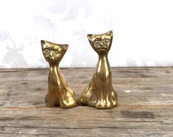 Brass cat pair, small metal siamese figures, figurines, feline, cats, kittens