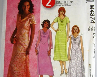 Misses Dress 4 Styles, Semi-fitted, A-Line, Sleeve Variations Sizes 12 14 16 18 McCalls Pattern M4374 UNCUT
