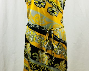 All Silk! 1960s yellow psych shift/ pencil dress Amazing Print