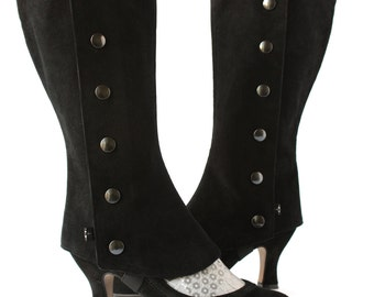 Black or brown Velvet Tall Spats for High Heels Shoes