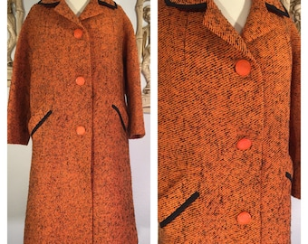 1960s Orange and Black Wool Coat -- The Perfect Fall Coat!