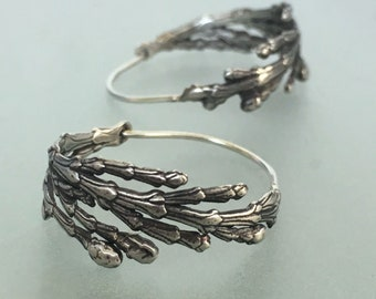 Cedar Branch Hoop Earrings in Sterling Silver, Gardening Gift