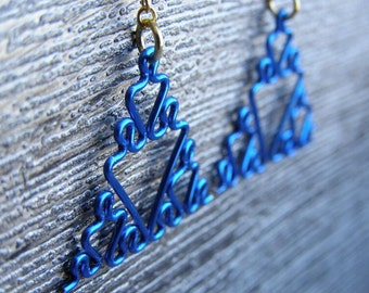 Fractal Earrings - Sierpinski Triangle Jewelry in Blues - Ice Blue, Indigo, Midnight, Navy, Peacock, Periwinkle, and Royal