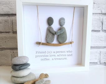 Handmade Pebble Art, Pebble Art Friends, Pebble Picture Friends, Pebble Gifts, Pebble Pictures. Mothers day Gift personalised, Mothers Day