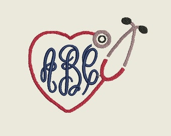 "Stethoscope Heart Shaped Monogram Border embroidery file in Multiple formats in sizes (2"", 3"", 4"", 5"", 6"") - INSTANT DOWNLOAD - Item # 2004"