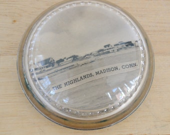 Vintage Paperweight with Domed Glass and Old Connecticut Farmland Image Inside