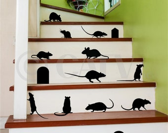 Rats set of 17 vinyl wall decals with doors self adhesive Halloween decor stickers mice mouse hole