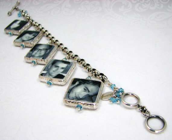 Charm Bracelet with 5 Sterling Framed Photo Charms and Aquamarine Swarovski Crystals- FC5FB5a