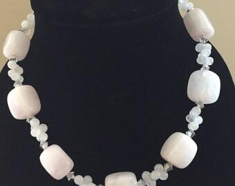 Rose Quartz Nugget & Swarovski Crystal Necklace