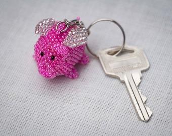 Flying Pig Keychain, Beaded