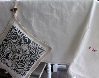 French antique tablecloth, shabby chic, farmhouse, cottage decor