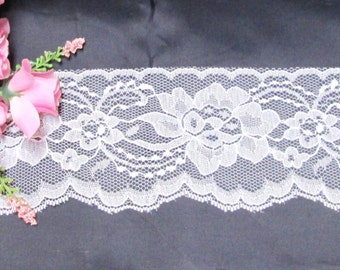 """Wide Flat White Lace 3.5"""" Inch Trim Lace 5-25 yds Sewing, Wedding Decor Burlap Embellishment Gift Wrap Favor Ties Banner Streamers Floral"""