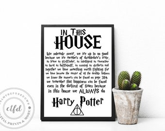 Harry Potter Hogwarts House Rules 8x10 Typography Digital Print