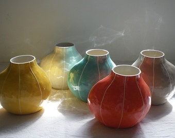 Ceramic vase. Handmade pottery in bright colors. Simple modern style. Unique wedding gift from Kri Kri Studio, Seattle