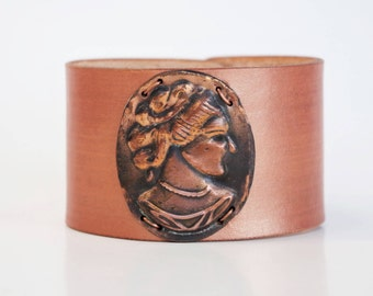 Metallic Leather Cuff + Vintage Copper/Brass Cameo Pressing - Hand-Dyed Blush/Light Copper Leather - Patina, Wristband, Bracelet, Victorian
