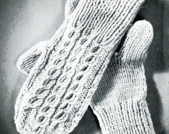 1960's Adult Mittens Knitting Pattern Instant Download PDF