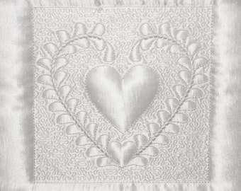 Machine Embroidery Design - Heart # 6 Quilting Block- Trapunto  4 sizes