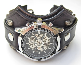 biker au watch black il this item leather bikers watches listing like skull jewelry