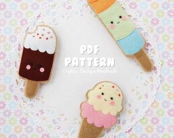 Ice Cream and Popsicle Sugar Cookies PDF Pattern. Digital Pattern. Felt Soft Toy Pattern.