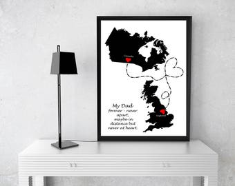 Father Map, Father Gift, Long Distance Map, Christmas Gift For Dad, Gift For Father, Fathers Day Gift, Gift for Family , Dad Birthday Gift