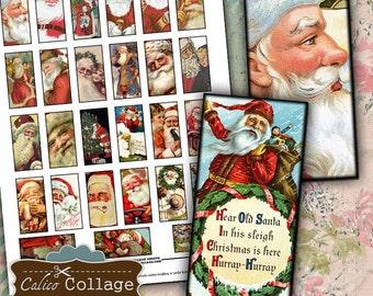 Father Christmas, Collage Sheet, Domino Collage Sheet, Vintage Christmas, 1x2 Collage Sheet, Printable Ephemera, Santa Ephemera