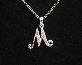 CZ Letter Initial M sterling silver pendant charm with necklace chain, personalized monogram necklace