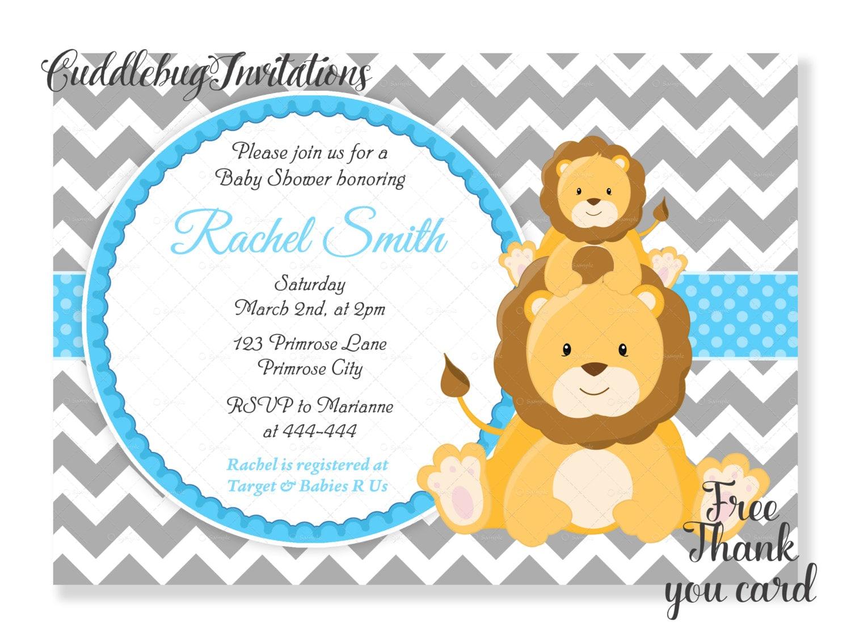 Lion Baby Shower Invitation Blue Boy Baby Shower Invite