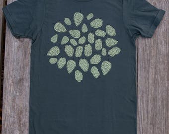 Hops Tshirt mens shirt beer lover - GRAY