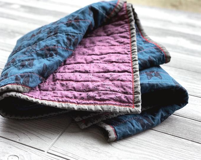 Handmade Modern Baby Quilt - Boston Terriers