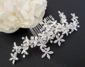 Bridal hair vine, Wedding headpiece, Swarovski crystal hair comb, Wedding hair comb, Flower hair comb, Rhinestone hair vine, Crystal comb