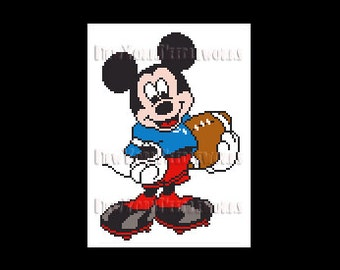 Mickey With Football Cross Stitch, Mickey Mouse Cross Stitch, Disney Cross Stitch, Football Cross Stitch, Disney, NewYorkNeedleworks on Etsy