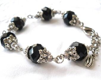 black bracelet beaded bracelet black victorian bracelet silver bracelet black jewelry victorian style vintage style bracelet