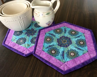 Kaleidoscope Quilted Mug Rugs, Set of Two, Floral Hexagon Coasters, Candle Mats, Mini Placemats, Unique Coffee Table Decor