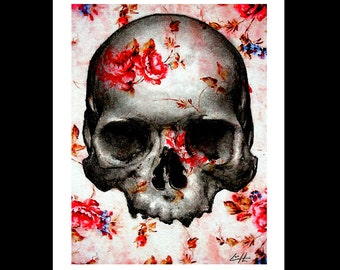"""Print 8x10"""" - Skull and Roses - Skeleton Flowers Dark Art Lowbrow Art Surreal Fantasy Skulls Taxidermy Anatomy Macabre Day of the Dead Red"""