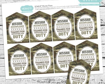 Little Soldier Camo Favor Tags - INSTANT DOWNLOAD