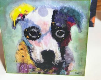 """Pop Art Dog Collectible """"Caleb"""" Giclee Mini Block Print 4x4 Square Torn Paper Art by Robin Panzer Holiday Gift or Stocking Stuffer"""