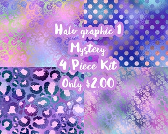 Halographic Mystery 4 Piece Mini Planner Sticker Kit sized for the Erin Condren Planner & Many other planners