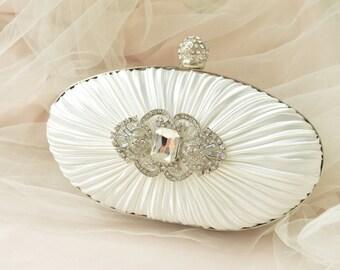SALE 2017 Vintage Glam Bridal Purse - IVORY - Bridal Clutch Bag, Vintage Wedding Handbag, Bridal Handbag, Crystal Handbag