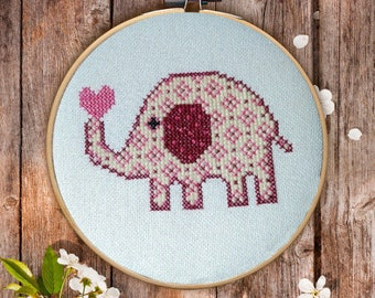 Cross Stitch Pattern, small elephant Cross Stitch Pattern, Instant Download Cross Stitch Pattern