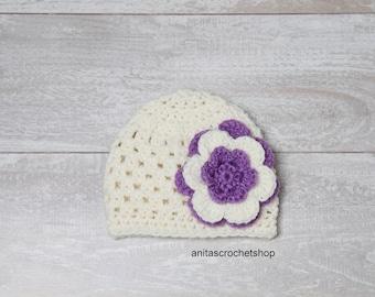 Newborn baby girl flower hat. Spring baby hat with flower. Newborn photography props. Newborn crochet baby girl hat. Newborn crochet prop.