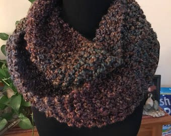 Hand Knit Infinity Scarf - Brown and Forest Heather