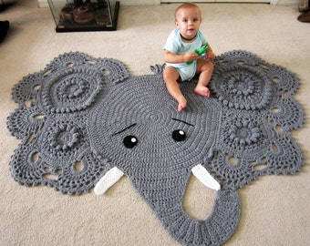 Elephant rug, crochet elephant, crochet elephant rug, Elephant rug with tusks, nursery rug, animal rug, baby shower gift, grey rug, baby rug