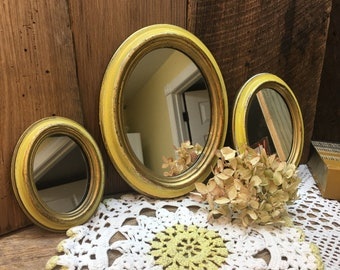 Italian Mirror Set/Made in Italy/Set of Three/French Farmhouse/Yellow/Wall Grouping