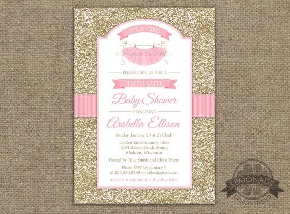 Tutu cute baby shower invitation gold pink baby shower filmwisefo
