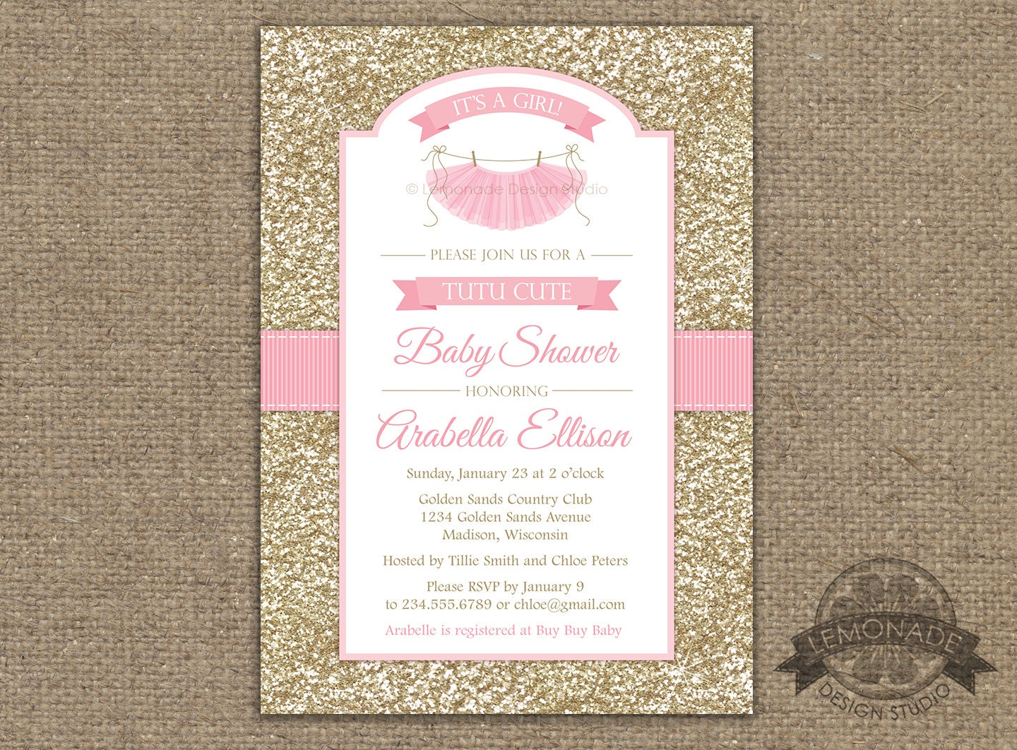 colors conjunction full and tutu zazzle colorss pink invitations of baby with gold in diy size shower