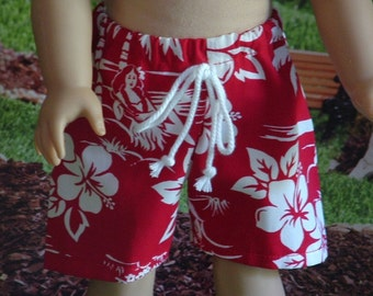 Red Hawaiian Board Shorts for American Boy Dolls