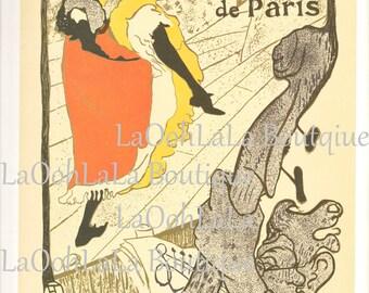 1893 Jane Avril au Jardin de Paris & 1891 Moulin Rouge La Goulue Henri de Toulouse Lautrec Vintage 1971 French Art Nouveau Lithograph Print