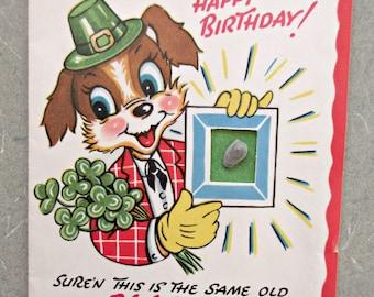 Vintage Birthday Card, Greeting Card, Blarney Stone Birthday Card, Mid Century Birthday, Irish Birthday, 1960s Birthday, Used Greeting Card
